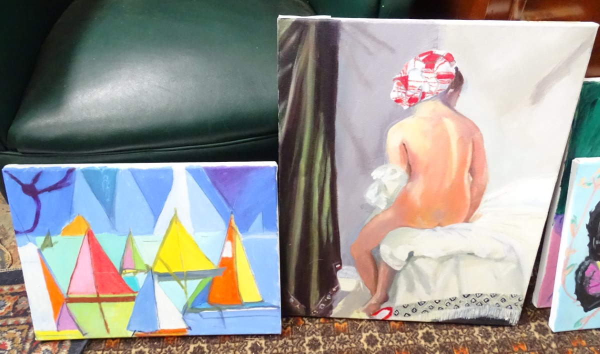 Lot 43 - Four modern acrylic on canvas paintings, subjects to include a nude, an Oriental lady,