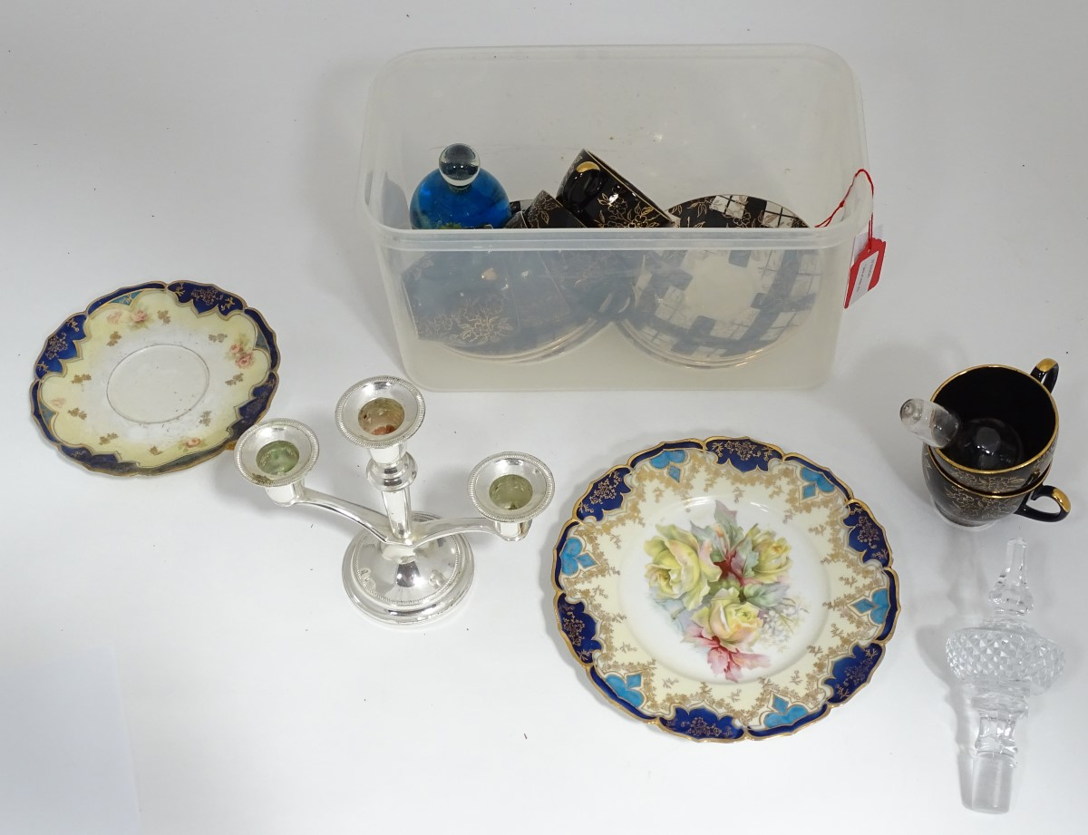Lot 13 - A box of miscellaneous to include, ceramics, candelabra etc.