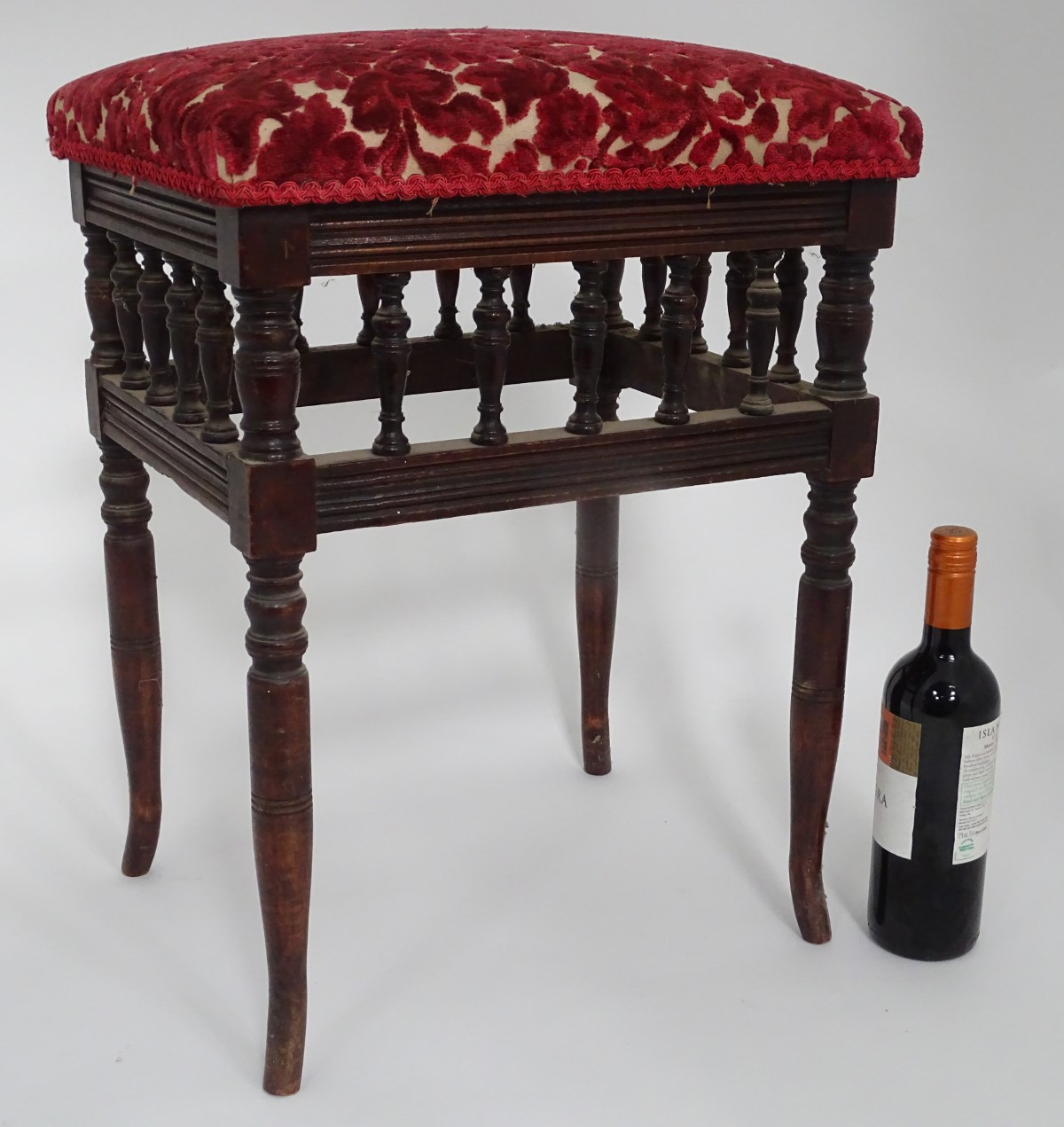 Lot 59 - An aesthetic movement style upholstered piano stool CONDITION: Please Note - we do