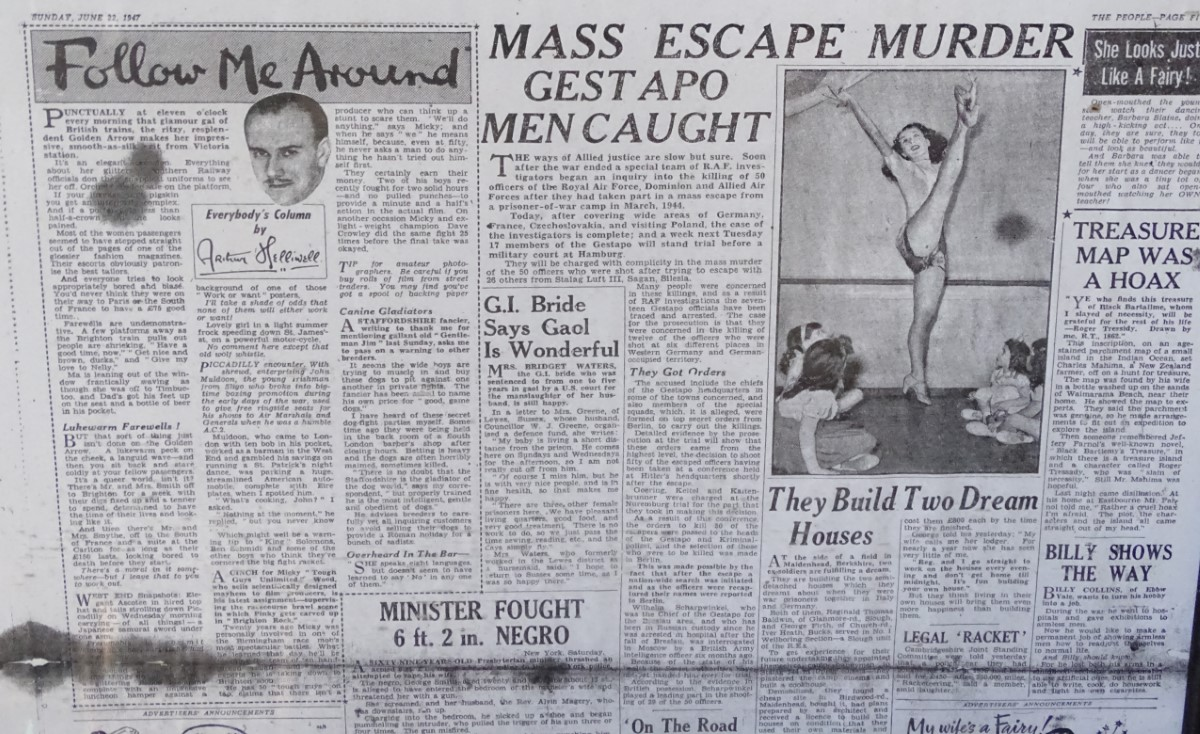 Lot 12 - 3 framed prints of The People newspaper from 1940's CONDITION: Please Note - we do