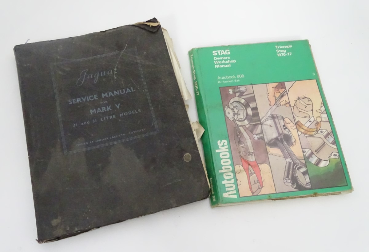 Lot 314 - Two owner's manuals for cars: comprising a stag owner's workshop manual auto book 808,