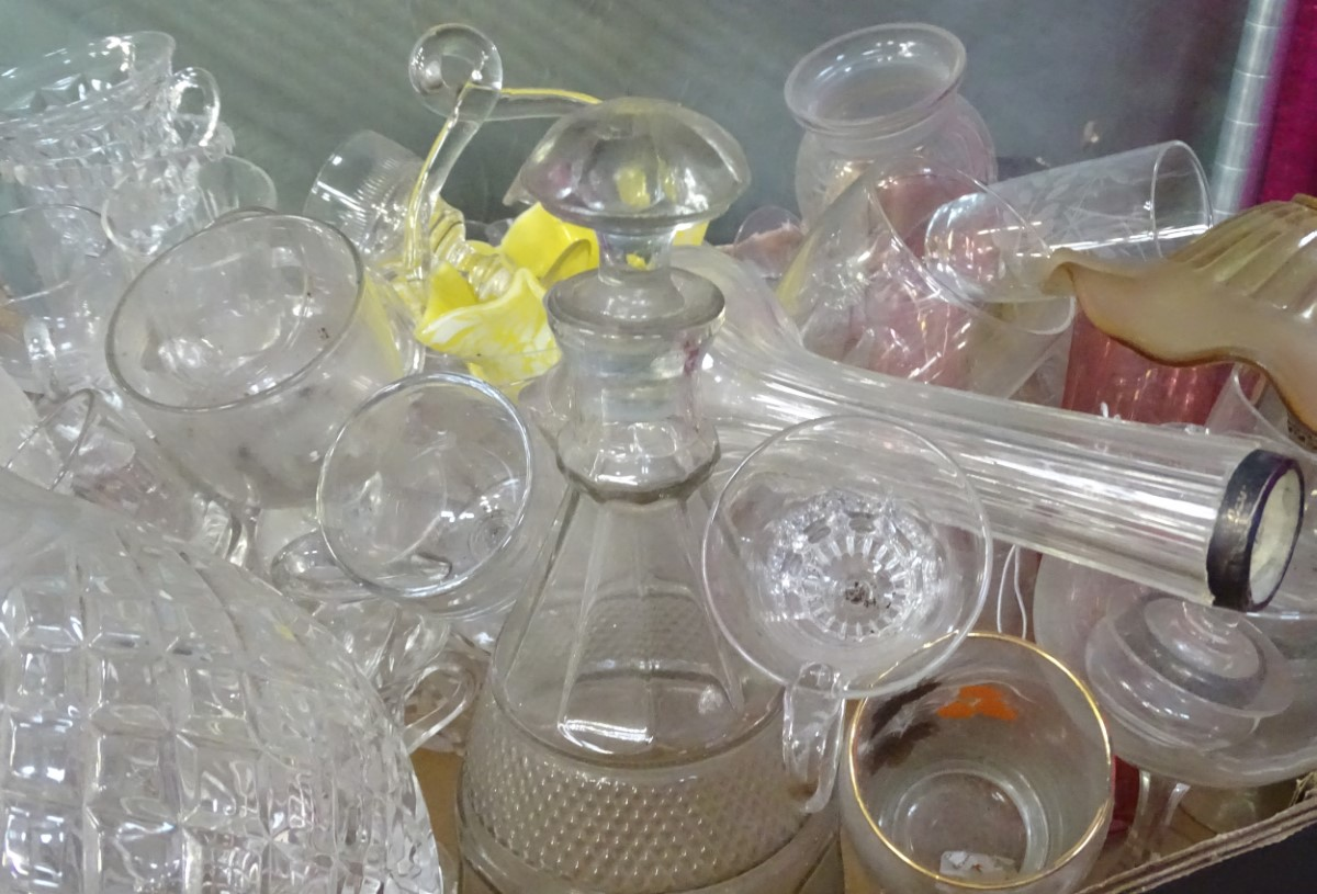 Lot 46A - A quantity of glass to include decanters, rinsers, custard glasses etc.