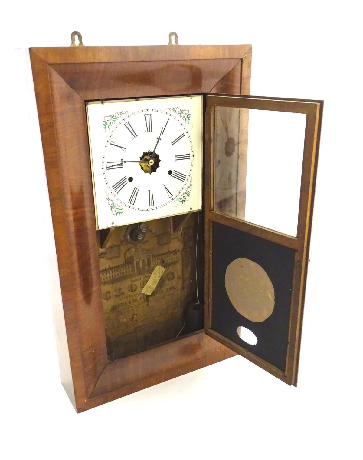 Lot 28 - Wall Clock : a mahogany American 'Kipper ' 8 day Wall Clock marked ' Jerome & Co , New Haven , Conn.