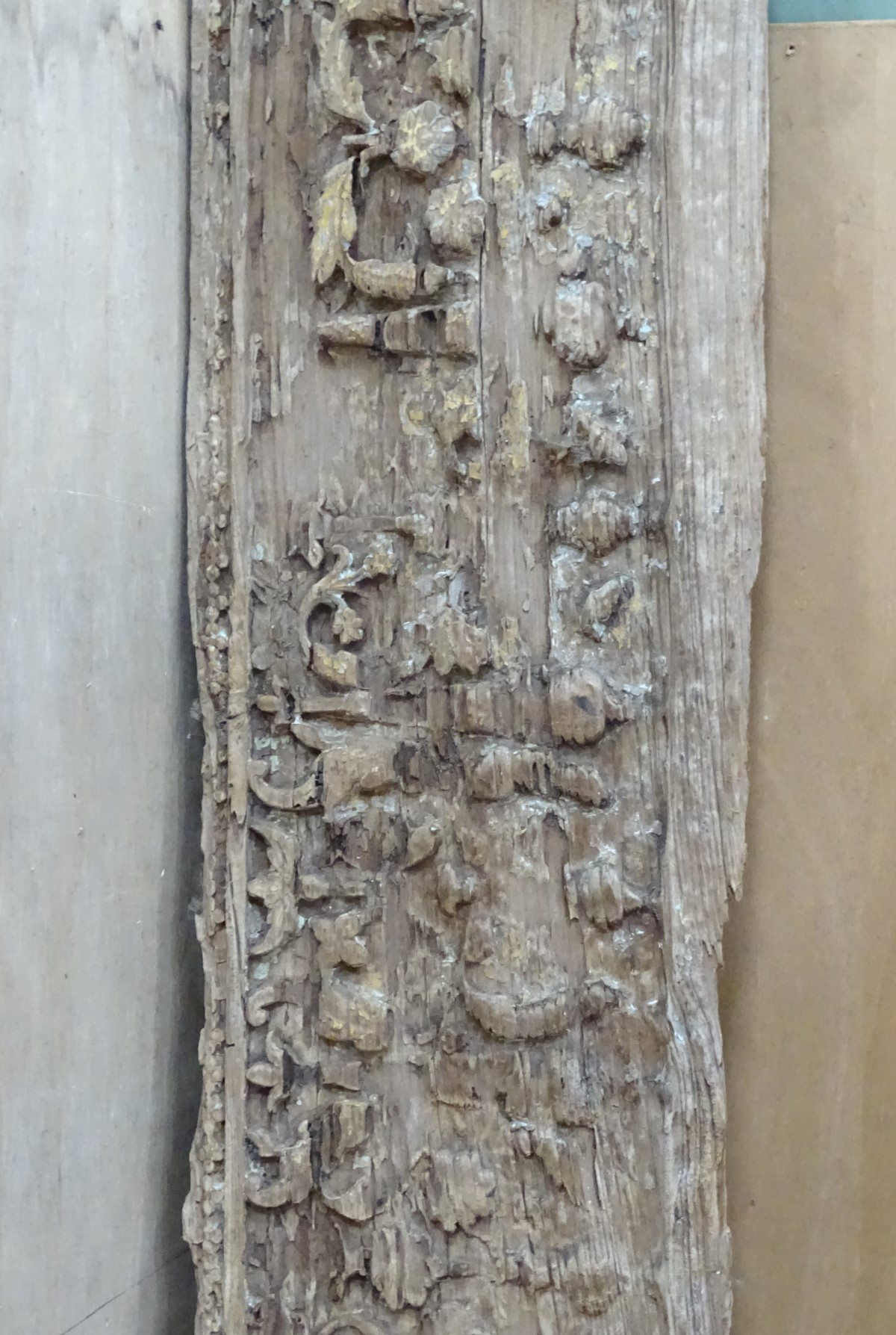 Lot 17 - An old carved oak panel CONDITION: Please Note - we do not make reference to the