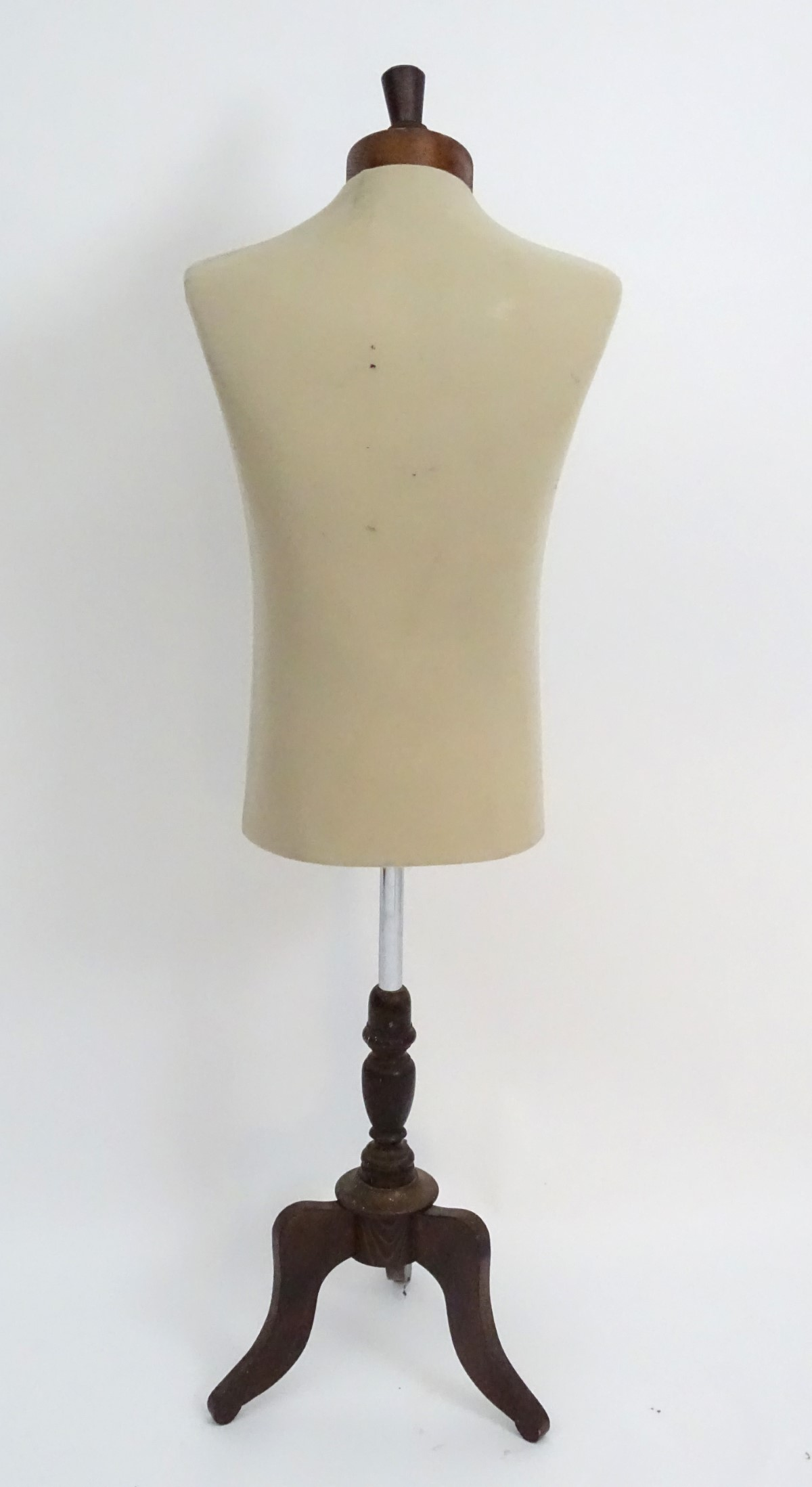 """Lot 18 - Dressmakers dummy, a mannequin on a tripod stand. 53"""" high."""