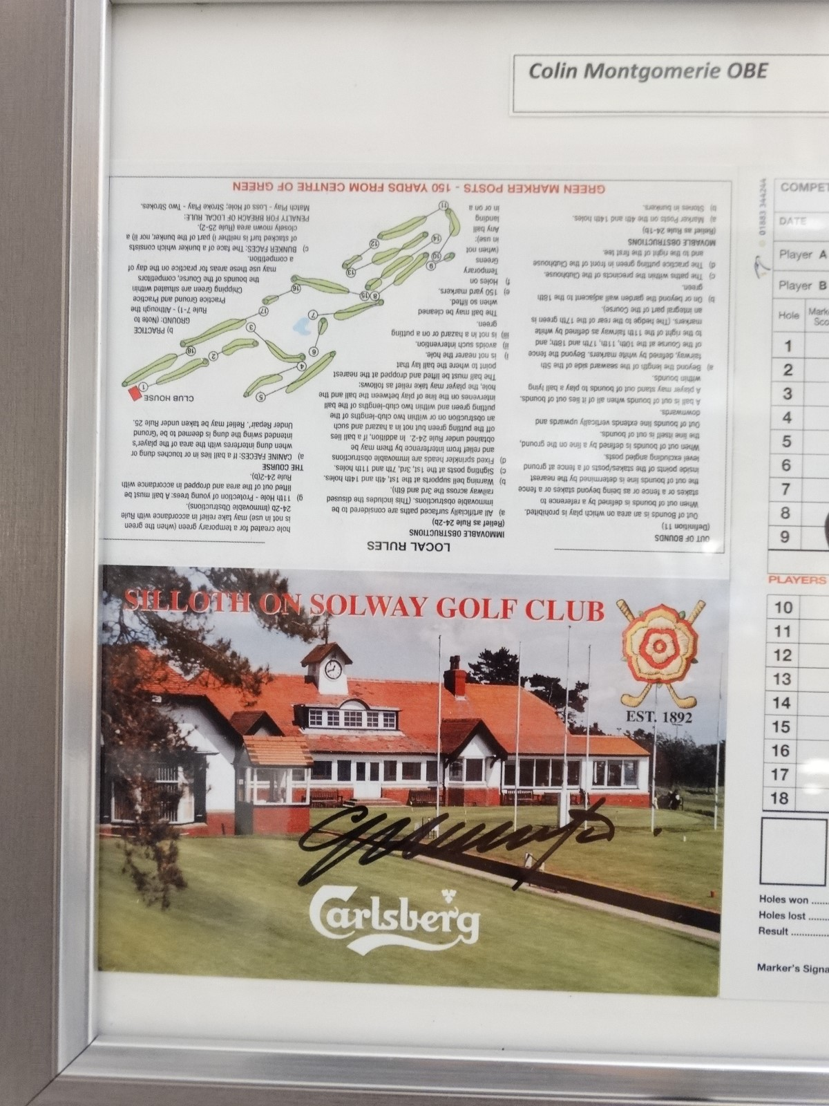 Lot 37 - Golf: Three signed Siloth Golf Club score cards, autographed by Sir Nick Faldo,
