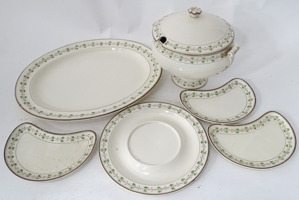 Lot 58 - A quantity of creamware items comprising, soup tureen and stand, large meat plate etc.