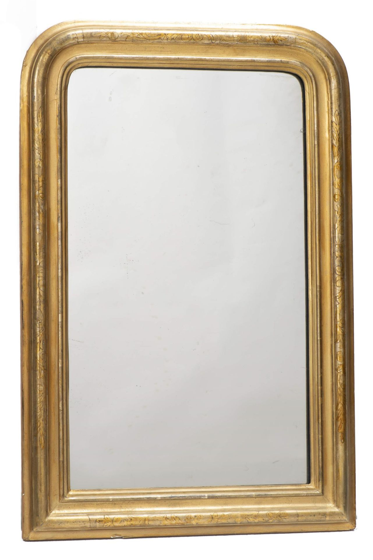 Miroir vertical à cadre en stuc doré d'époque Louis-Philippe