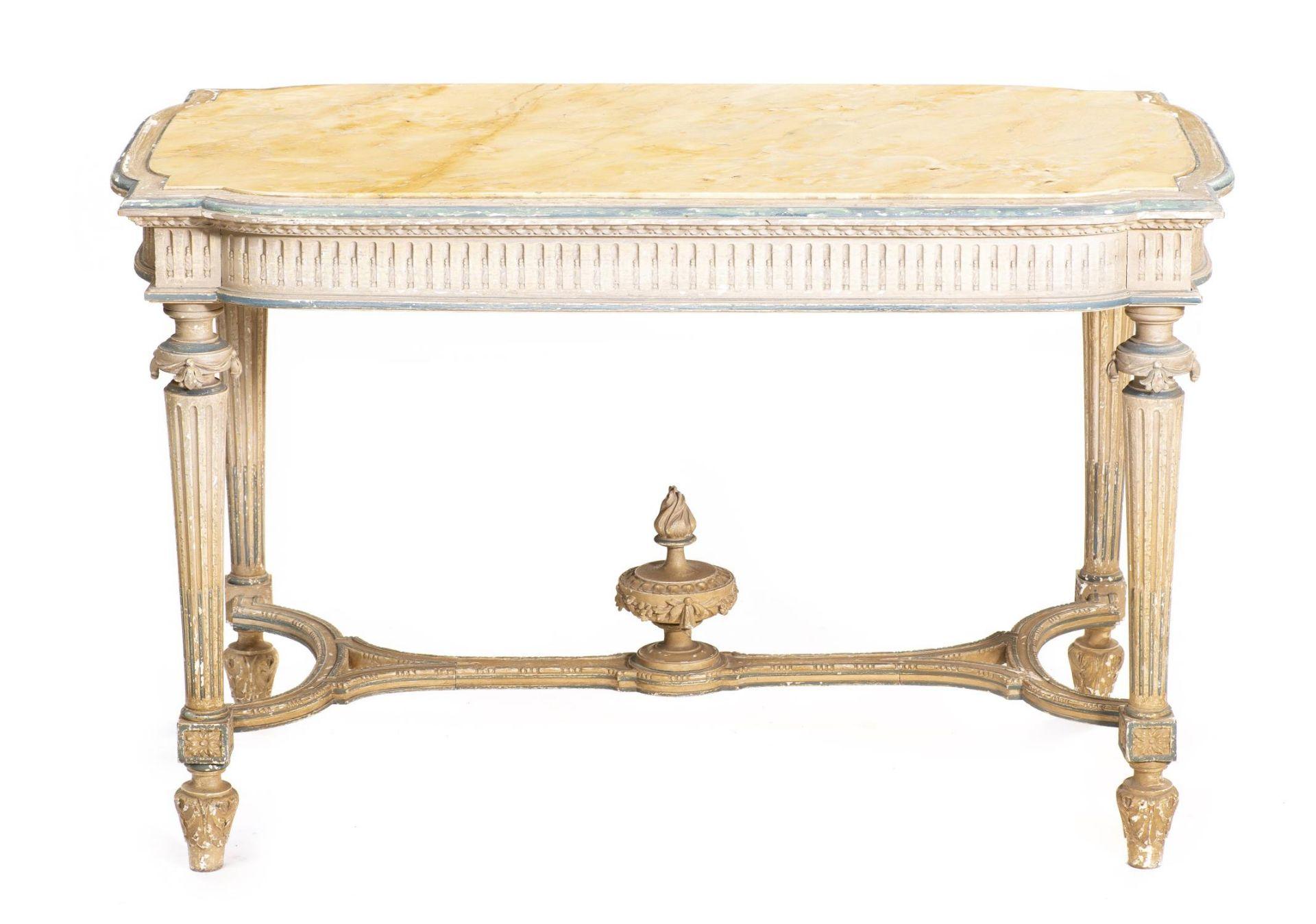 Table de chasse de style Louis XVI avec plateau de marbre jaune