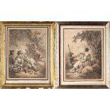 """Jean Baptiste Huet (1745-1811) gravé par Demarteau (1722-1776), 2 gravures """"Scènes [...]"""