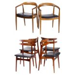 Quatre chaises en teck et deux fauteuils en chêne de style scandinave