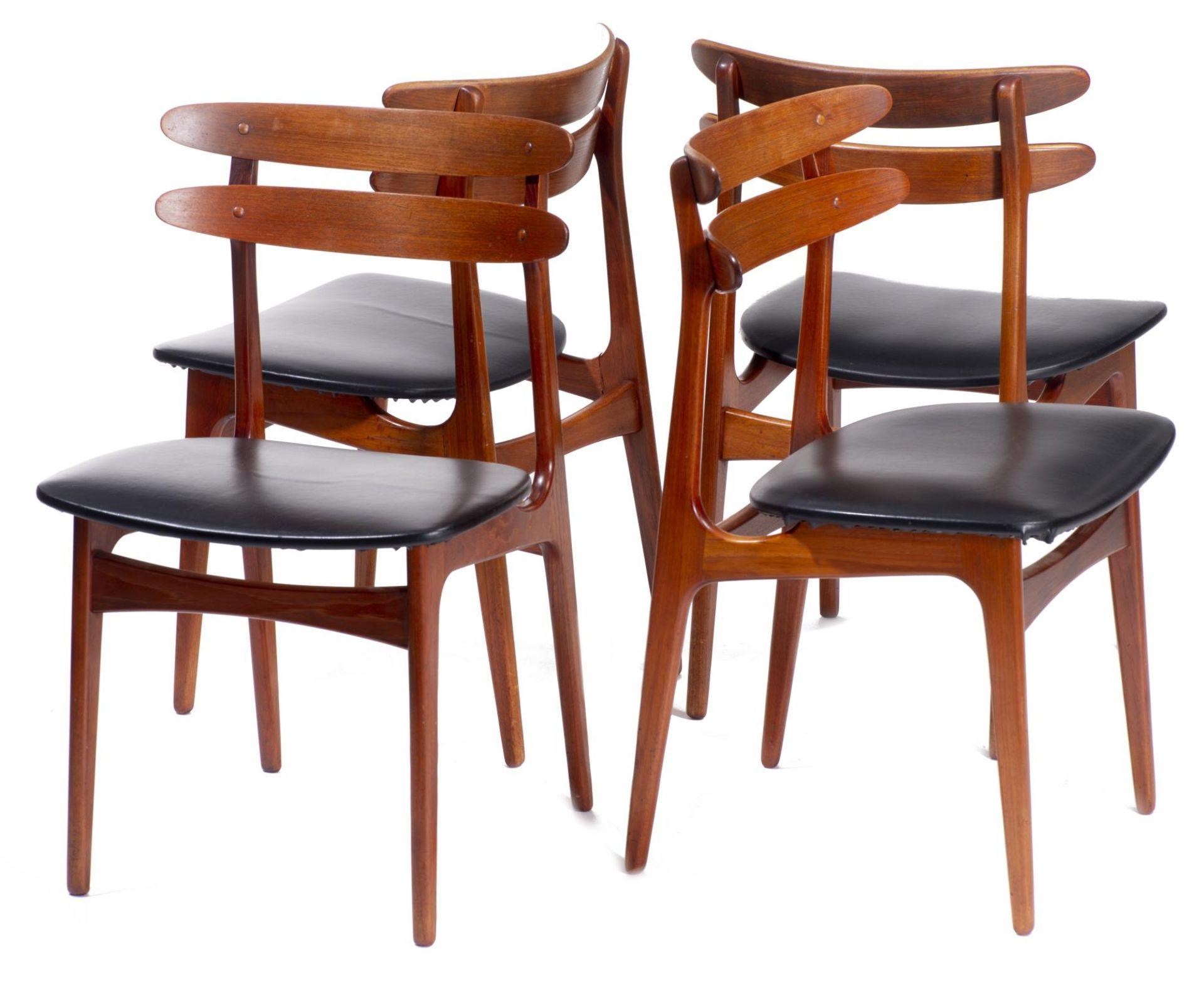Quatre chaises en teck et deux fauteuils en chêne de style scandinave - Bild 5 aus 9