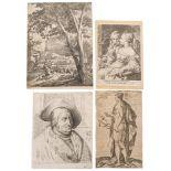 Ensemble de 4 gravures XVIIe-XVIIIe