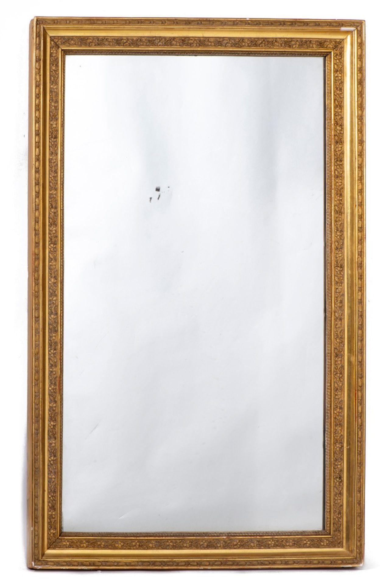 Miroir à cadre en stuc doré rectangulaire d'époque Nap. III, glace au mercure