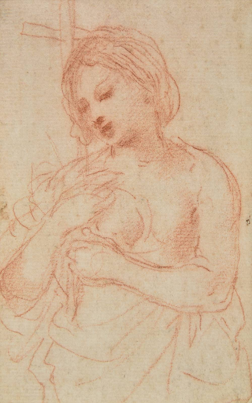 Lot 4 - *Circle of Simone Cantarini il Pesarese (1612-1648). Mother and Child, circa 1620-30, red chalk on
