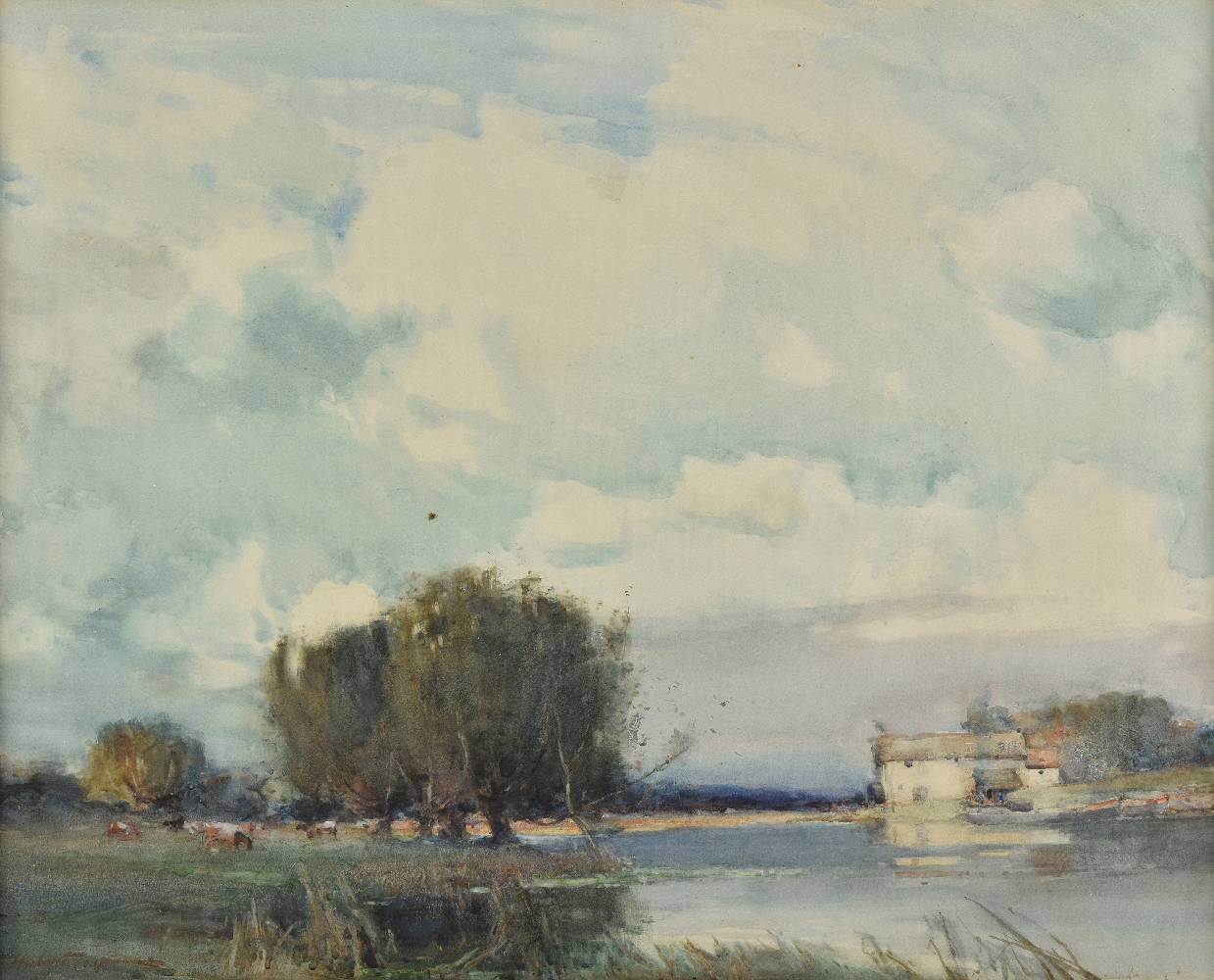 Lot 59 - *@Coop (Hubert, 1872-1953). River Landscape, East Anglia, watercolour heightened with touches of