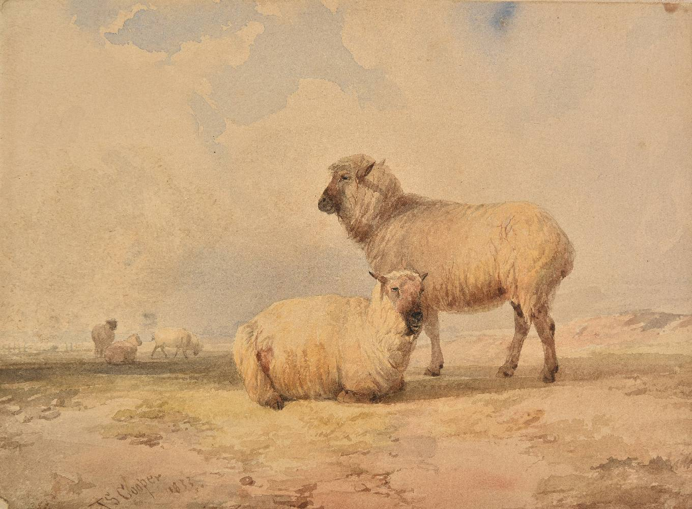 Lot 60 - *Cooper (Thomas Sidney, 1803-1902). Landscape with sheep, 1833, watercolour on laid paper, laid down