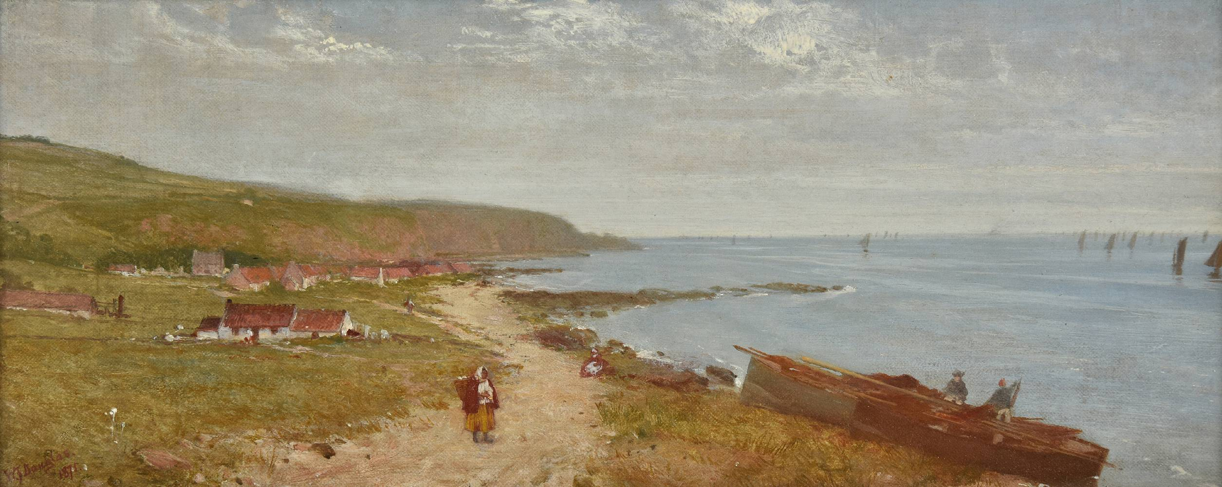 Lot 33 - *Douglas (William Fettes, 1822-1891). On the Kincardine Shore, 1875, oil on canvas, signed and dated