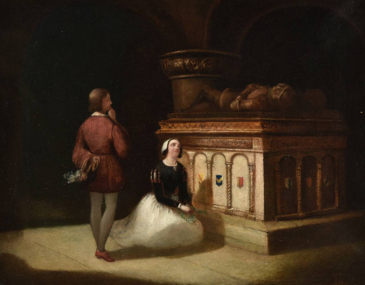 Lot 42 - *Leslie (Charles Robert, 1794-1859). At the Tomb, 1857, oil on canvas, signed Chas R. Leslie, and