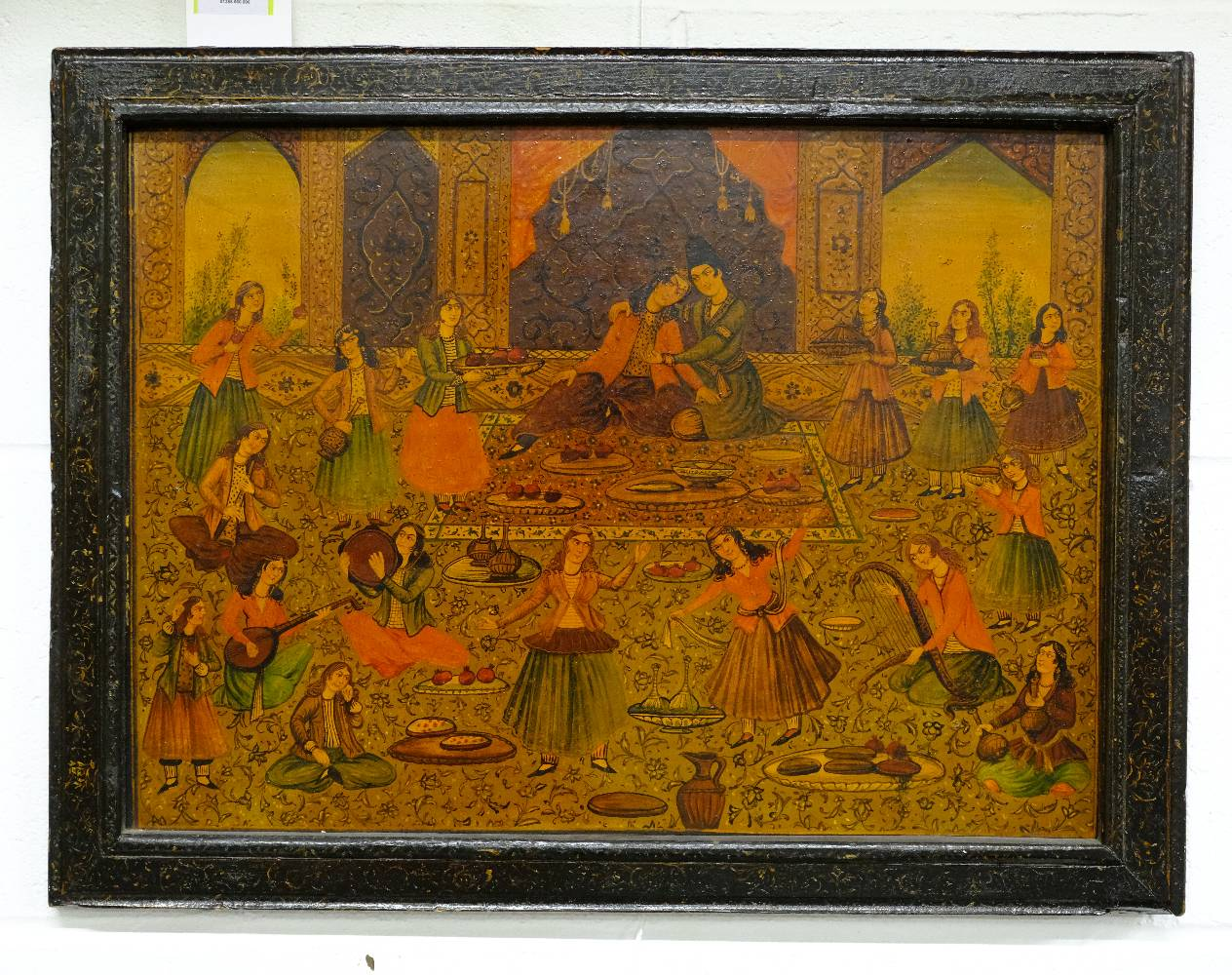 Lot 55 - Persian School. Wedding feast, 20th century, oil on wood panel, lacquered, 35.7 x 48 cm (1)
