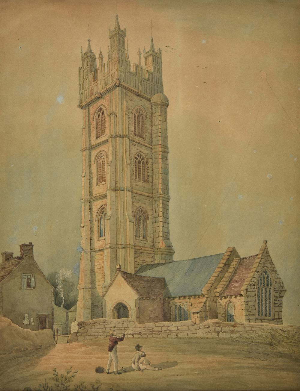 Lot 58 - *Bristol. Dundry Church, circa 1800-1810, watercolour on wove, showing two boys flying a kite by