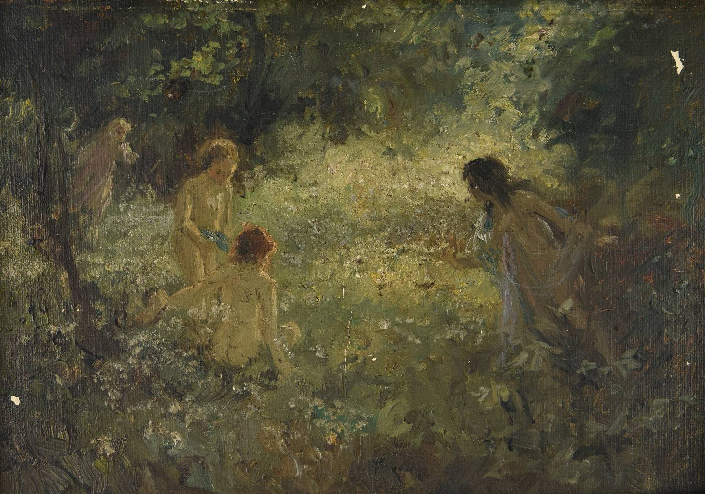 Lot 45 - *Maybank Webb (Hector Thomas, 1869-1929). Nymphs in a Wooded Glade, oil on board (stamped George