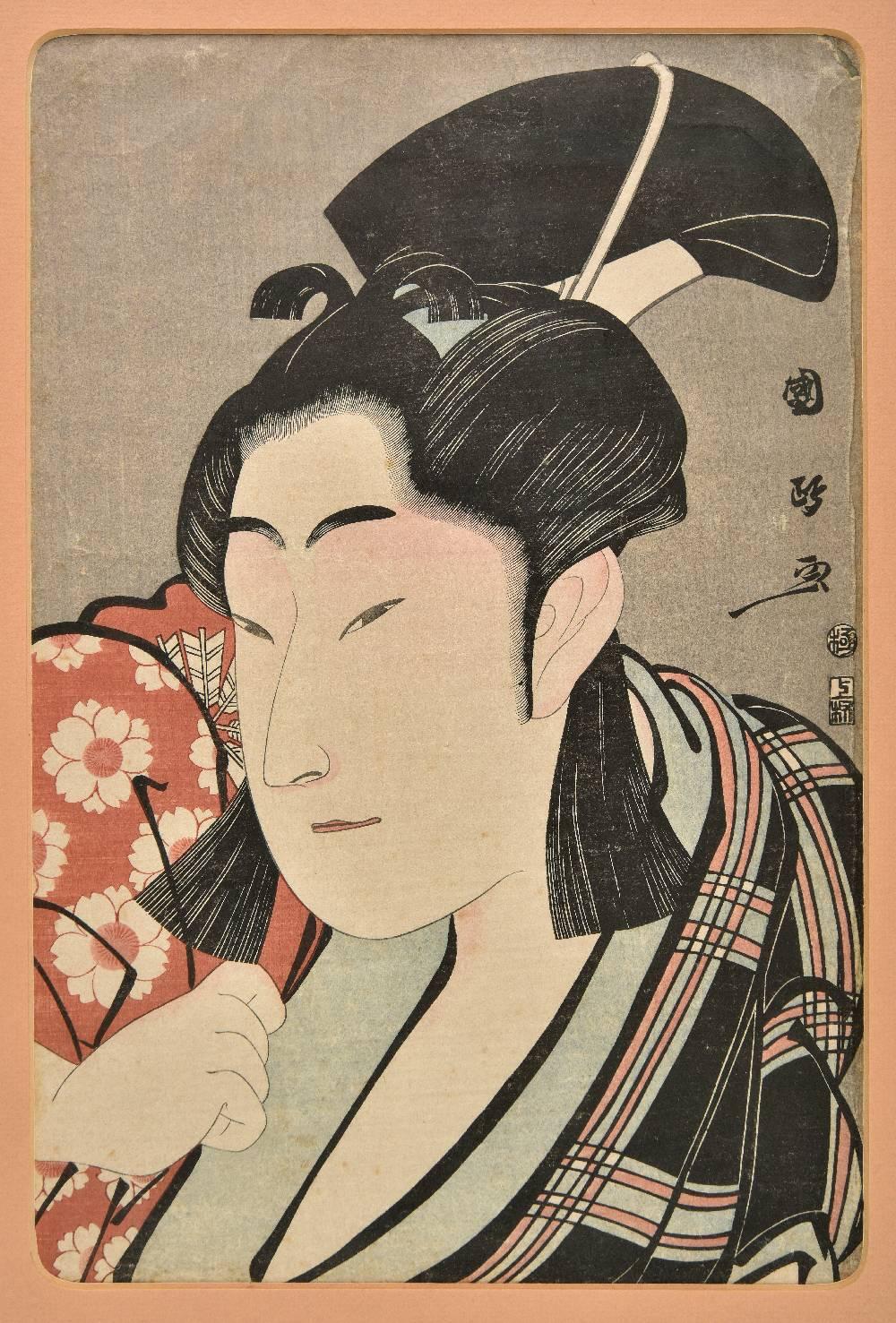 """Lot 52 - *Kunimasa (Utagawa, 1773-1810). Actor Nakamura Noshio II as Sakuramaru, 1796, vertical """"ban colour"""