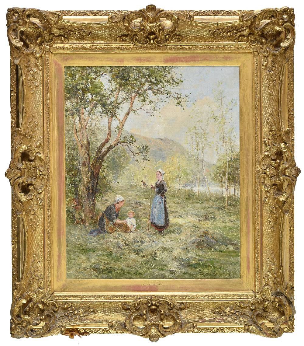 Lot 48 - *Walbourn (Ernest Charles, 1872-1927). In the Hayfield, oil on canvas, pastoral summer scene of