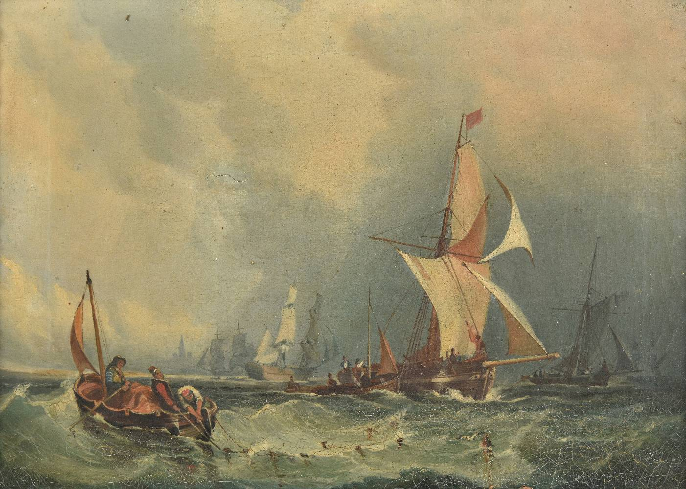 Lot 18 - *Townshend (John Fitzhenry, 1811-1893). Marine View, oil on canvas of fishing boats at full sail,