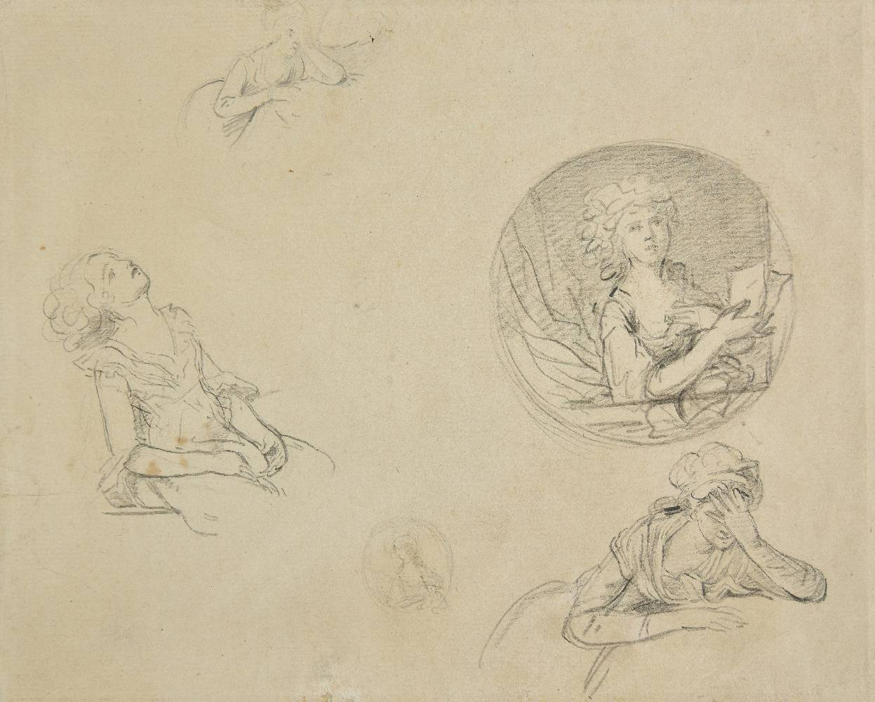Lot 8 - *Attributed to Francoise L. Joseph Watteau de Lille (1758-1823). Studies of young woman seated,