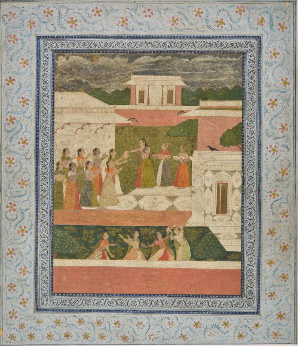 Lot 54 - *Mughal School. Court scene with Princess and attendants giving gifts to assembled females, with