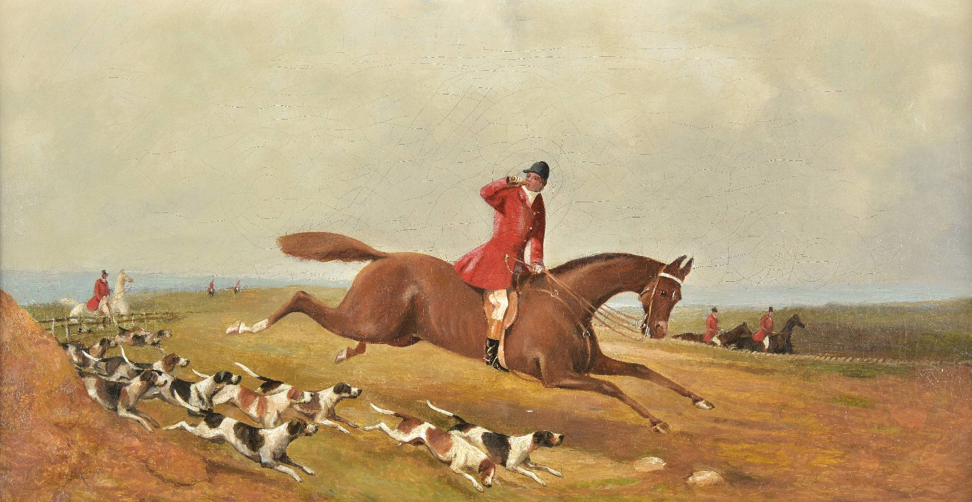 Lot 37 - *English School. Hunting Scenes, circa 1880s, a pair of oils on canvas, apparently unsigned,