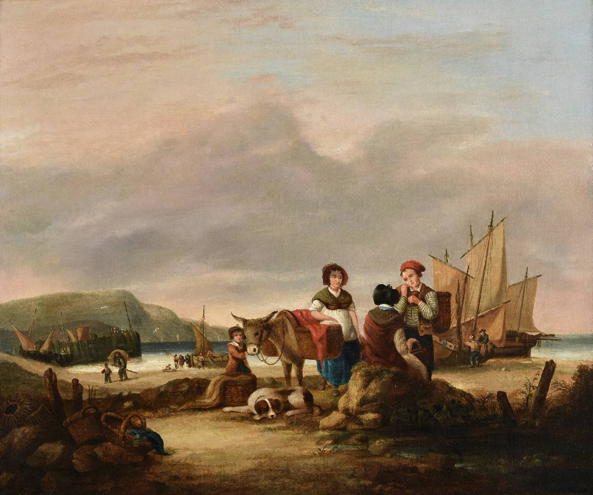 Lot 47 - *Shayer (William, 1788-1879). Coastal scene with fisherfolk bringing in the catch, oil on canvas,
