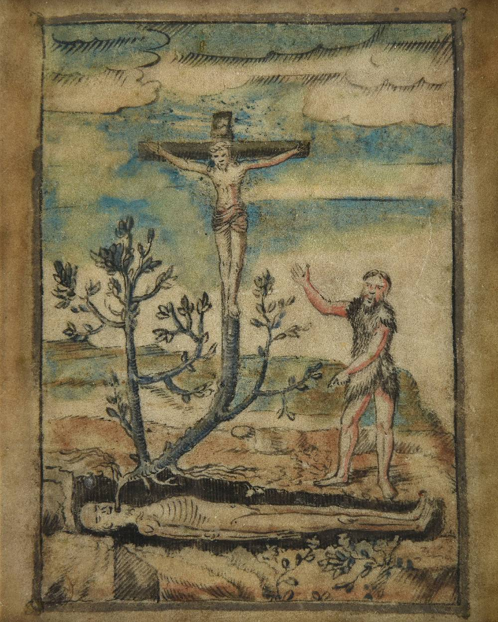 Lot 3 - *English School. The Tree of Jesse with St. John the Baptist wearing a bearskin, black ink,