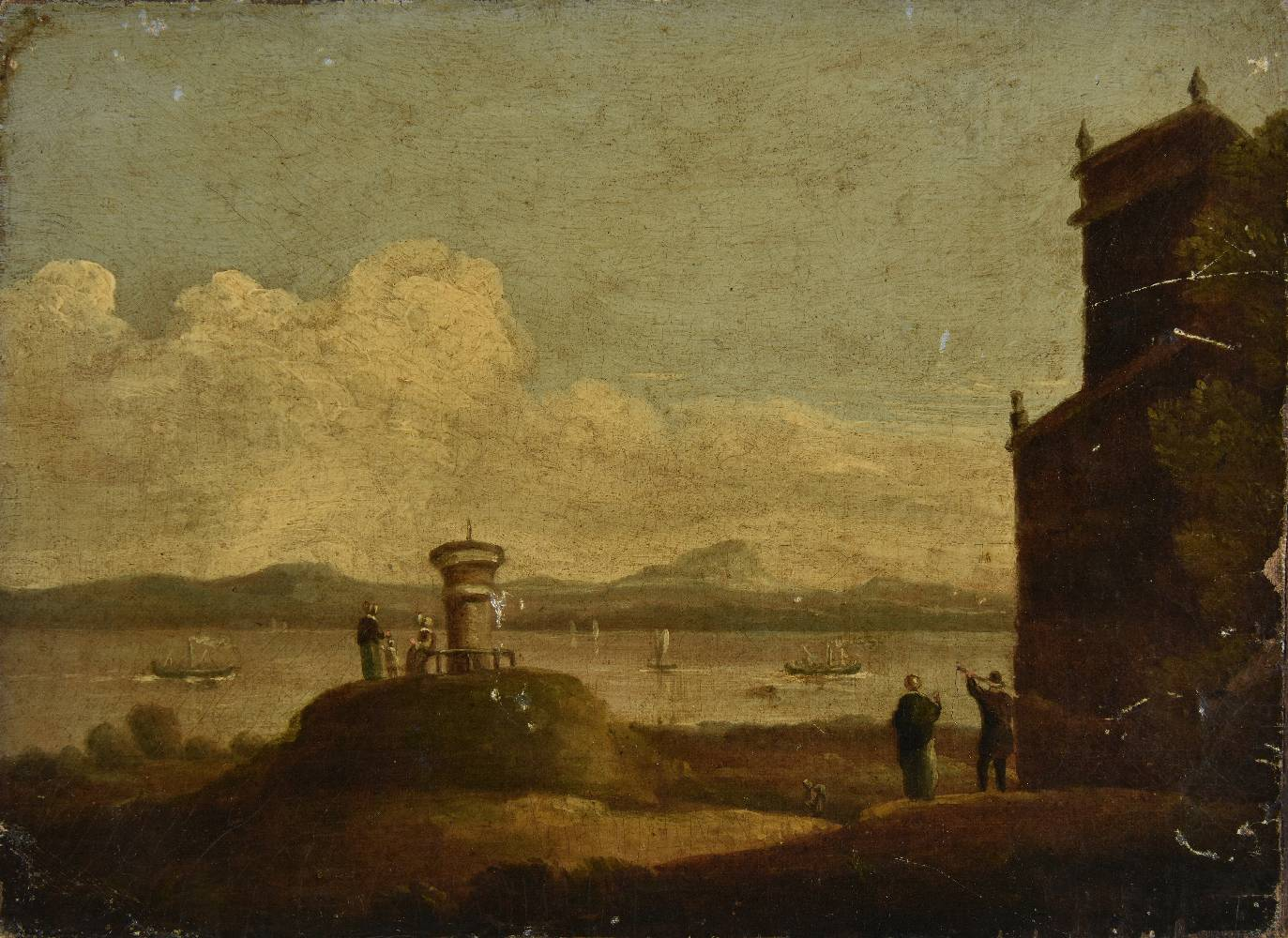 Lot 38 - *English School. Coastal scene with distant sailing and steam boats, foreground waterside navigation