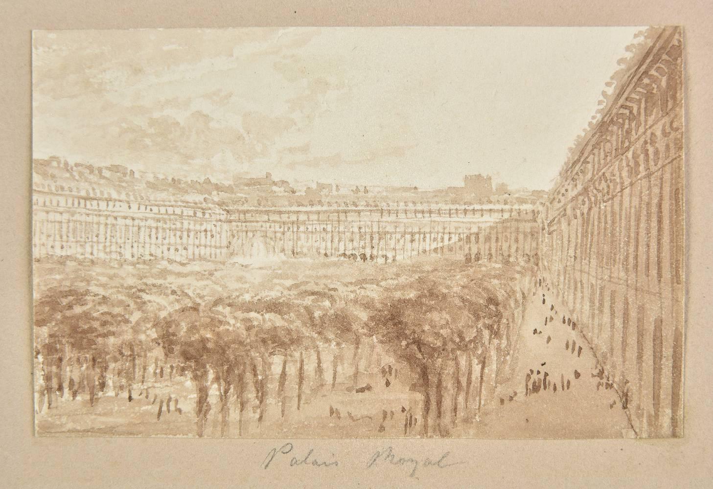 Lot 56 - *Batty (Robert, 1789-1848). Palais Royal, Paris, pen, brown ink and brown wash on paper, 68 x 107 mm
