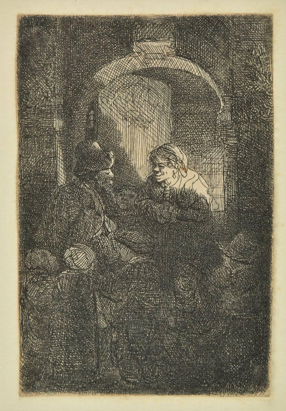 Lot 6 - *Rembrandt (Harmensz. van Rijn, 1606-1669). Woman at a door hatch talking to a man and children,