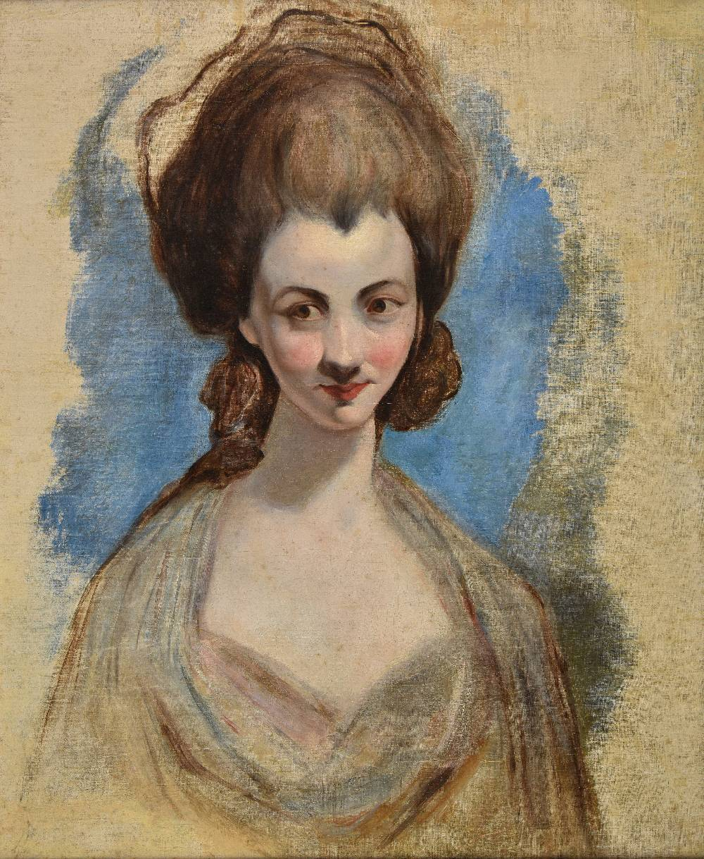 Lot 23 - *After Matthew William Peters (1742-1814). A 19th century unfinished copy of a portrait of a young