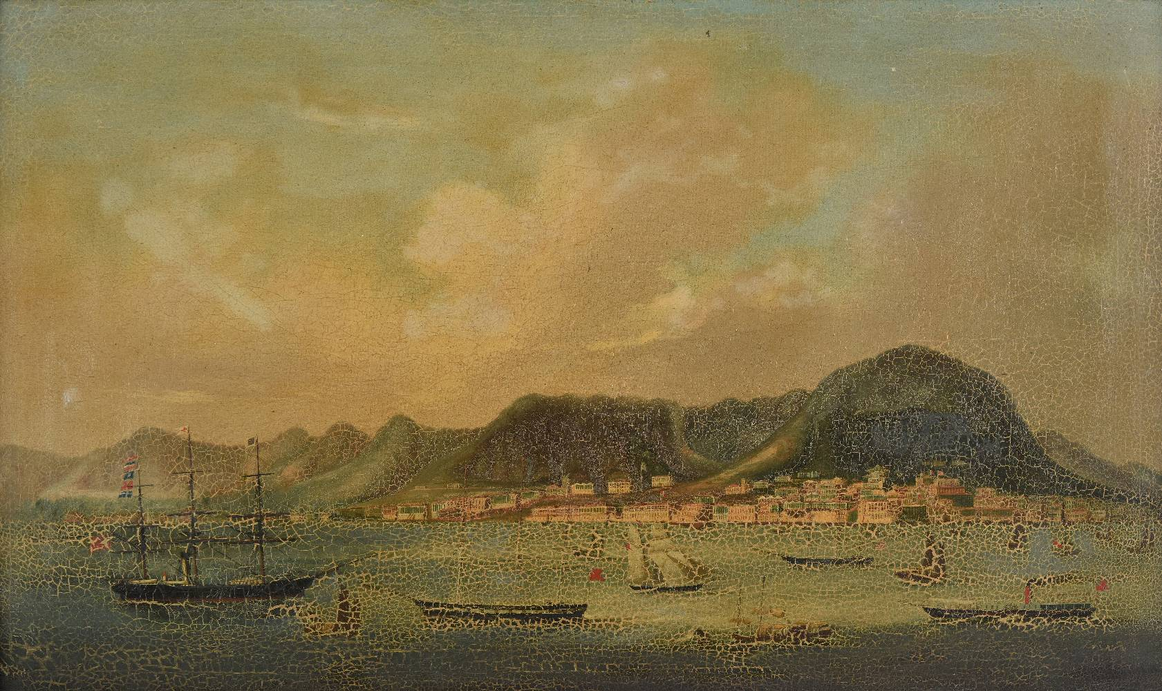 Lot 32 - *Company School. Panoramic view of Hong Kong Harbour, circa 1860, oil on canvas, relined, some