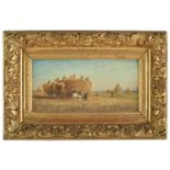 Lot 17 - *Huet (F., late 19th century). Hay making, oil on wood panel, summer landscape depicting peasants