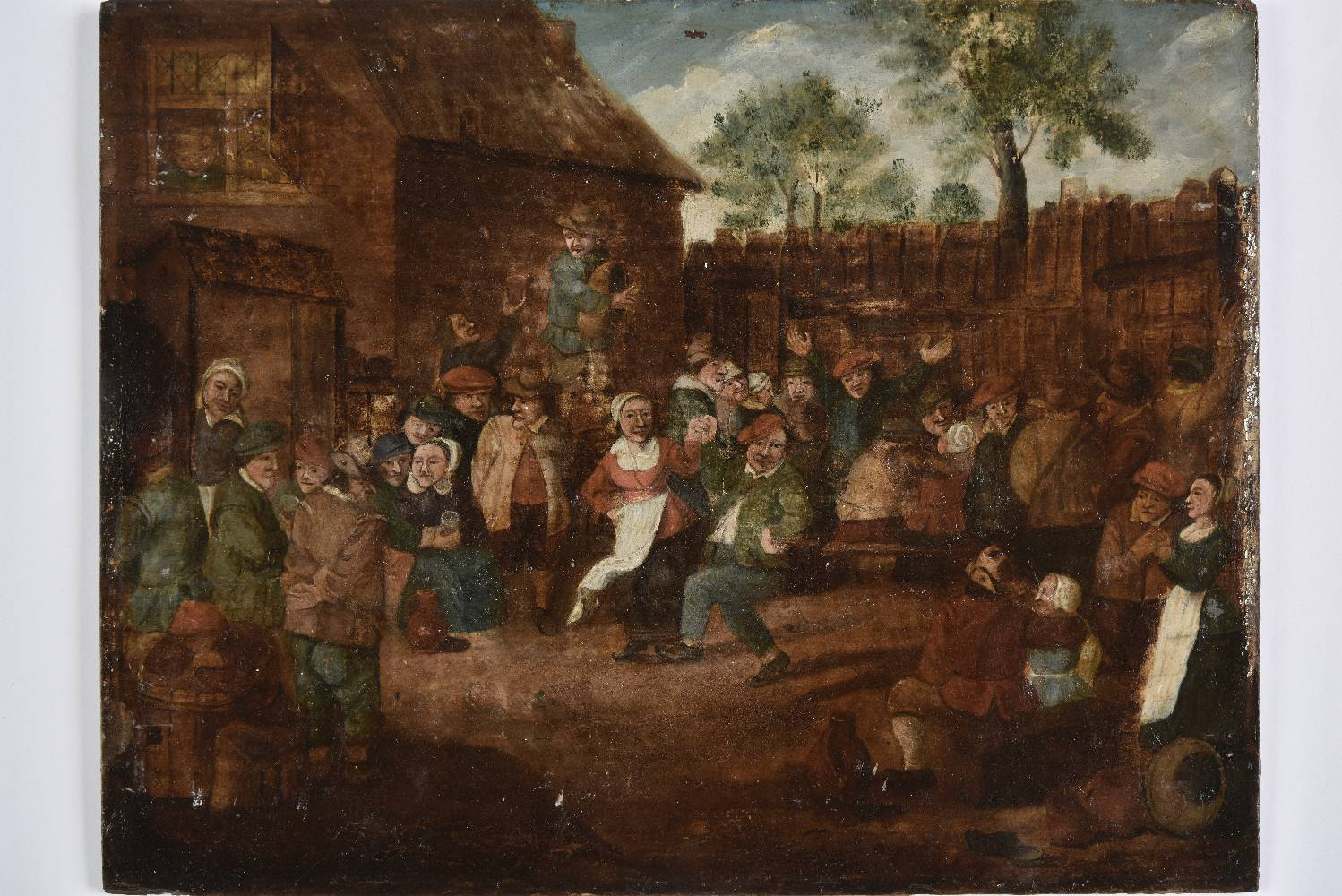Lot 13 - *Flemish School. The Village Wedding Feast, 17th or 18th century, oil on bevelled wood panel,