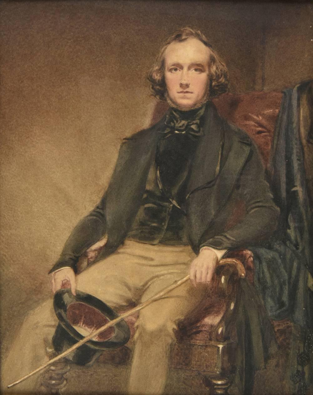 Lot 44 - *Maclise (Daniel, 1806-1870). Self portrait, watercolour, unsigned, period bird's-eye maple wood