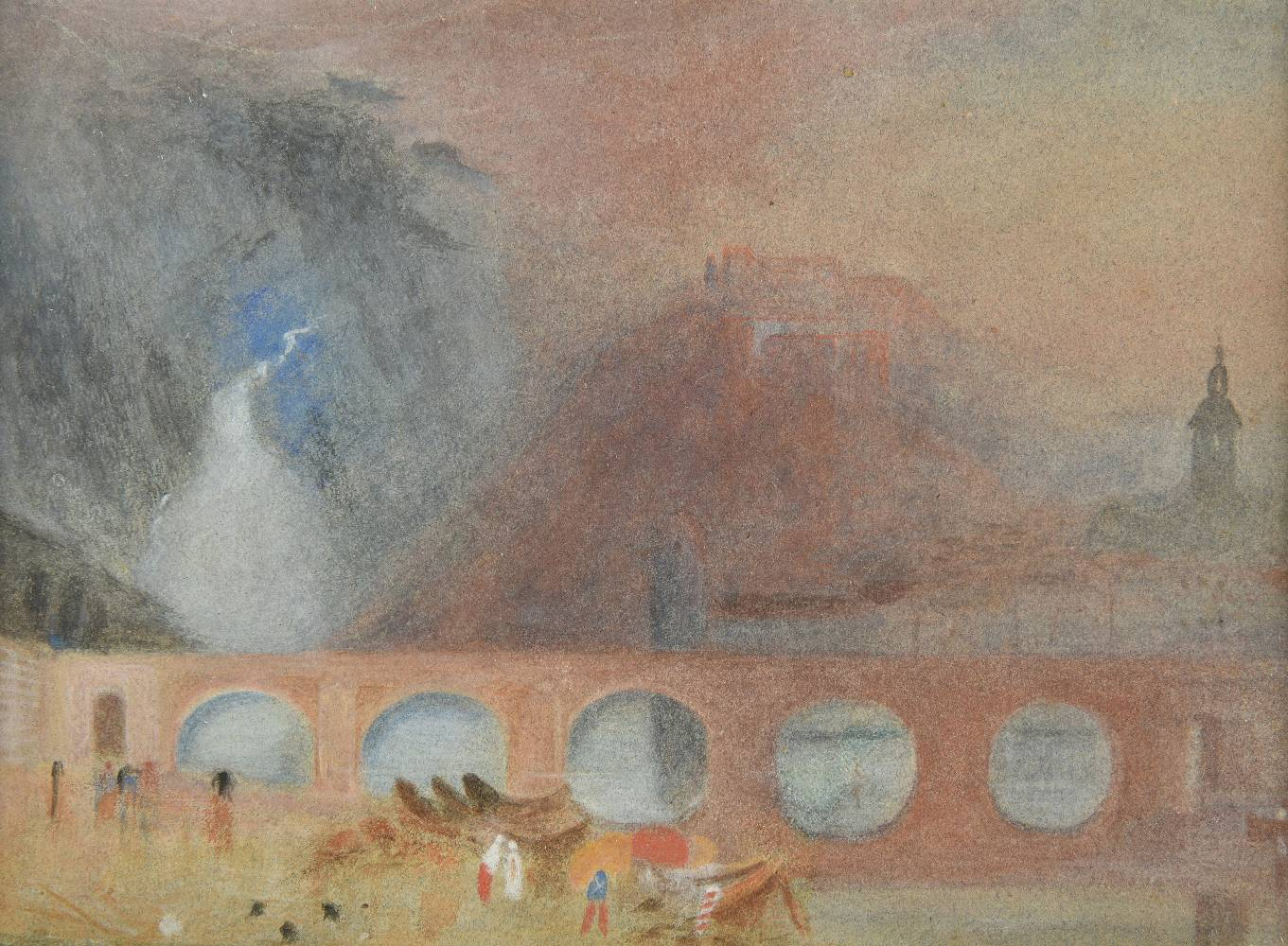 Lot 30 - *Brabazon (Hercules Brabazon, 1821-1906). River landscape with viaduct and waterfall, watercolour