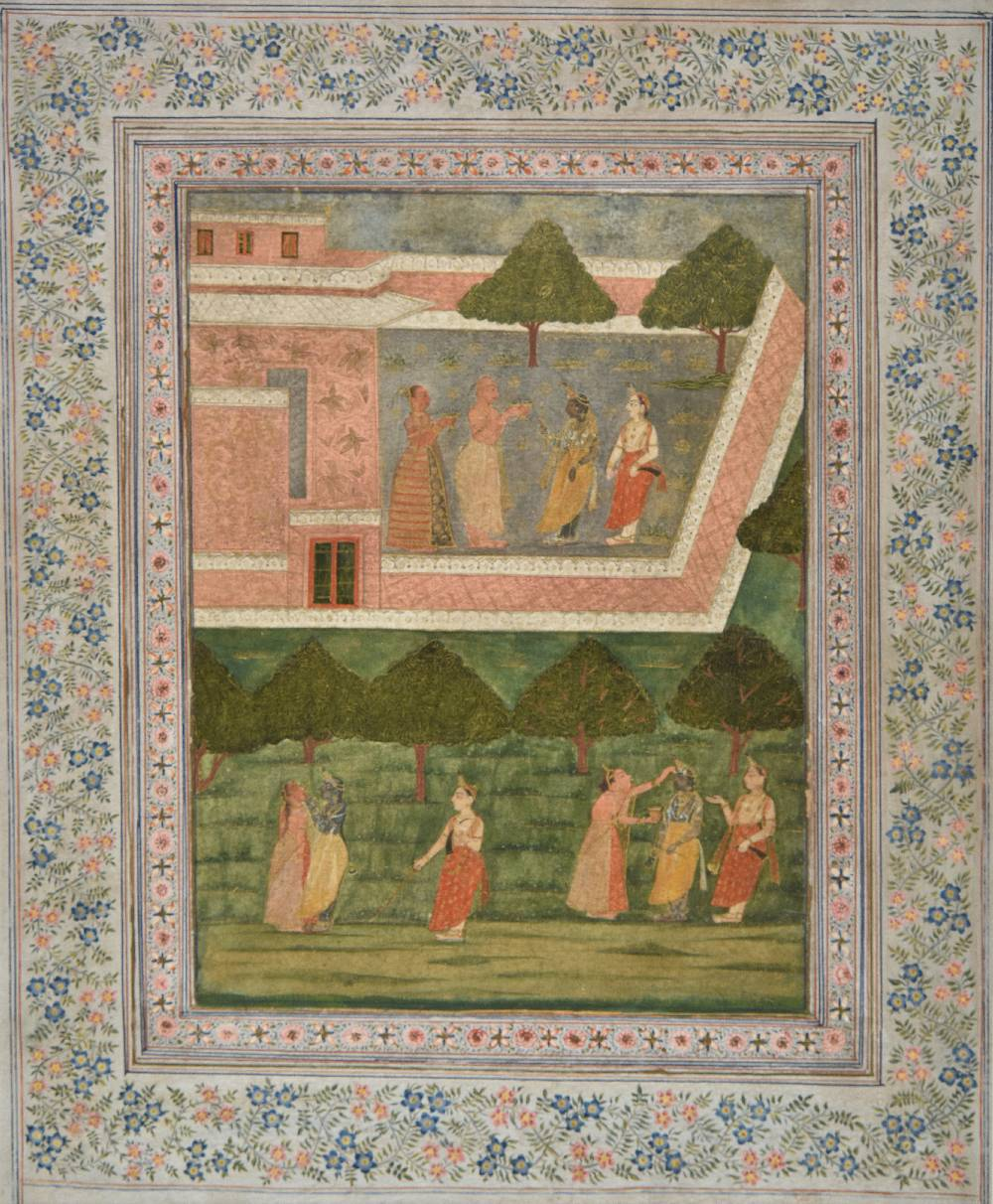 Lot 53 - *Mughal School. Court scene with female annointing ceremonies, 18th century, pen, ink and