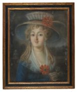 Lot 11 - *Continental School. A pair of portraits, possibly French, mid 18th century, pastel on card, head