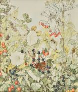 Lot 34 - *Mannes-Abbott (Sheila (1939-2014)). A stoat amongst autumn vegetation, watercolour, depicting a