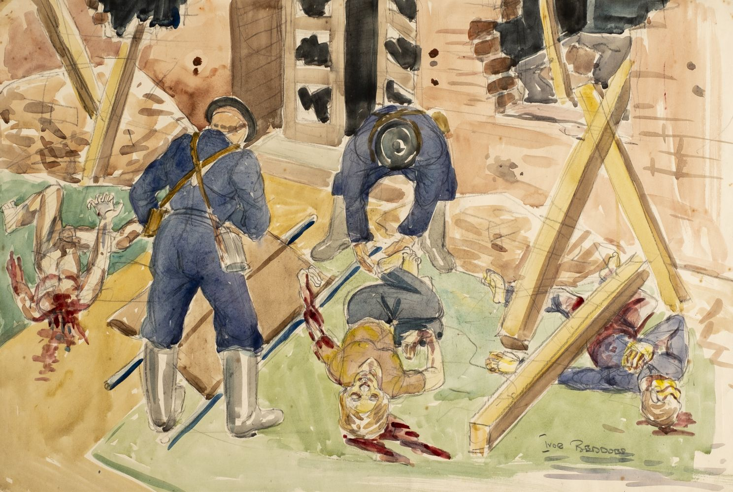 Lot 279 - * Beddoes (Ivor, 1909-1981). A group of watercolour & pencil drawings of scenes from the Lond