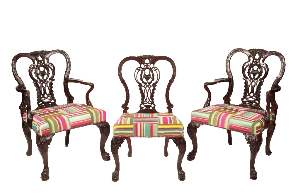 Lot 387 - SET OF EIGHT GEORGE III STYLE MAHOGANY DINING CHAIRS