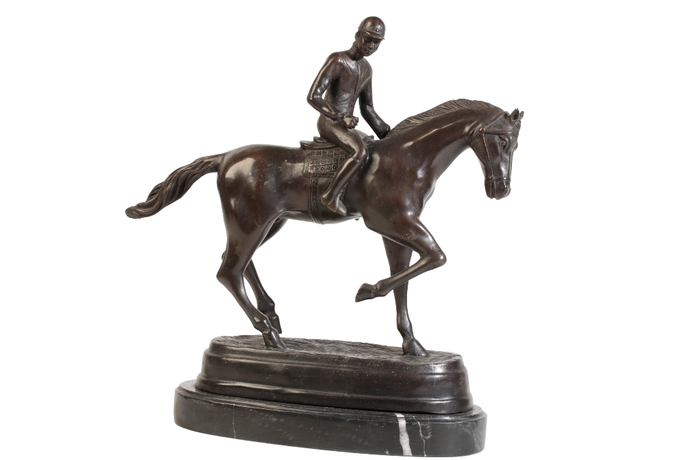 Lot 821 - BRONZE FIGURE OF A RACEHORSE AND JOCKEY