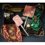 Lot 240 - A SILVER PLATED BOTTLE HOLDER and a collection of sundries